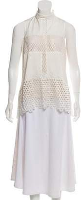 Lela Rose Eyelet Sleeveless Blouse
