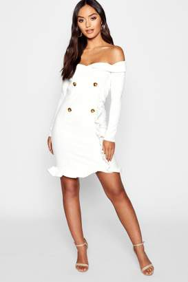 boohoo Petite Bardot Tuxedo Button Mini Dress
