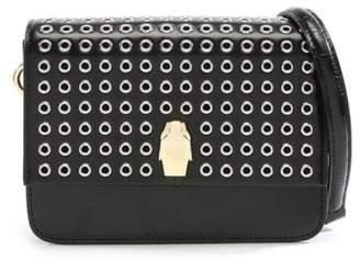 Class Roberto Cavalli Milano Black Leather Grommet Embellished Shoulder Bag