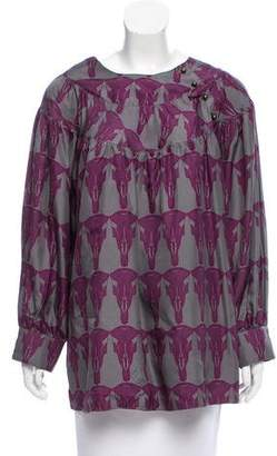 Thomas Wylde Printed Silk Top