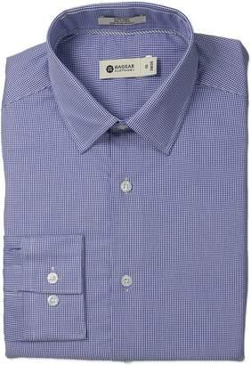 Haggar Men's Mini Tattersal Check Point Collar Regular Fit Long Sleeve Dress Shirt