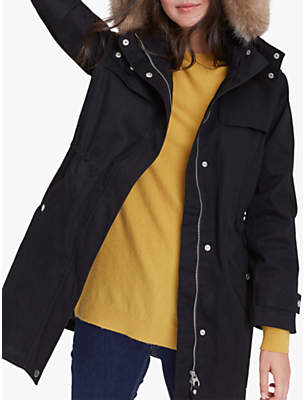 Aspen Faux Fur Waterproof Cotton Parka, Black