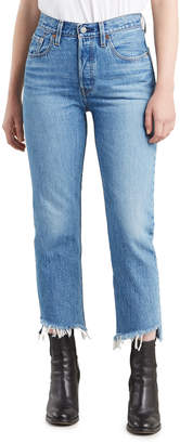 Levi's Premium 501 Cropped Skinny Jeans with Shredded Hem
