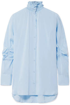 Carven Smocked Stretch-silk Crepe De Chine Shirt - Sky blue