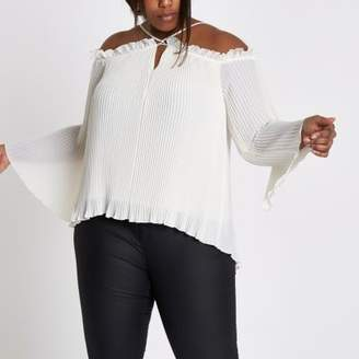 River Island Womens Plus white plisse cold shoulder top