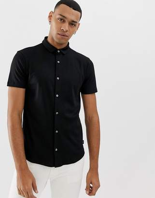 Emporio Armani slim fit short sleeve shirt in black