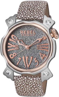 Rebel Brooklyn 44mm Coney Island Watch w/ Leather Strap, Gray