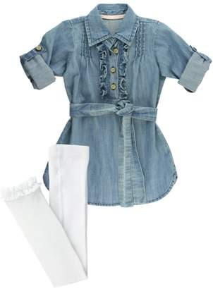 RuffleButts Denim Shirtdress & Tights Set