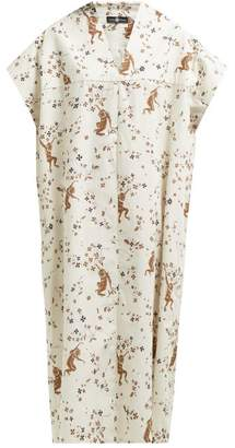 Edward Crutchley - Monkey Print Cotton Kaftan Dress - Womens - Cream