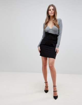 Asos DESIGN tailored mini skirt with exaggerated paper bag waist
