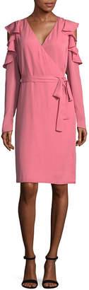 TDC T.D.C Long Sleeve Cold Shoulder Wrap Dress