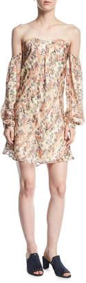Haute Hippie My Amour Off-the-Shoulder Floral-Print Silk Dress