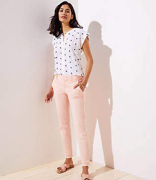 LOFT Petite Double Frayed Girlfriend Chinos