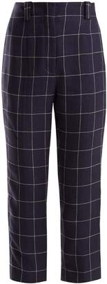 Acne Studios High-rise checked-linen cropped trousers