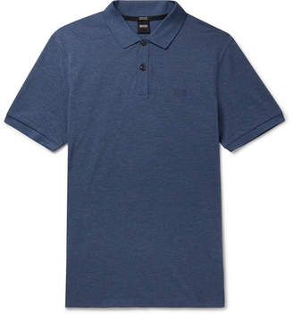 HUGO BOSS Pallas Melange Cotton-pique Polo Shirt - Blue