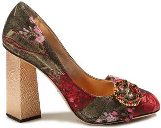 Dolce & Gabbana Block-heel floral-jacquard pumps