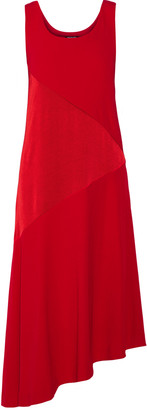 DKNY Asymmetric paneled satin and crepe midi dress $335 thestylecure.com