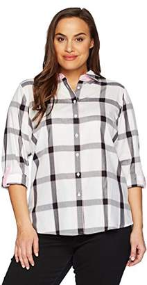 Foxcroft Women's Plus Size Zoey Herringbone Plaid Blouse
