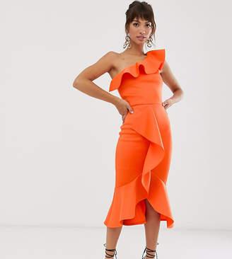 True Violet exclusive one shoulder frill bodycon dress in orange
