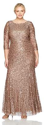 Adrianna Papell Women's Size Long Sleeve Beaded Dress Plus