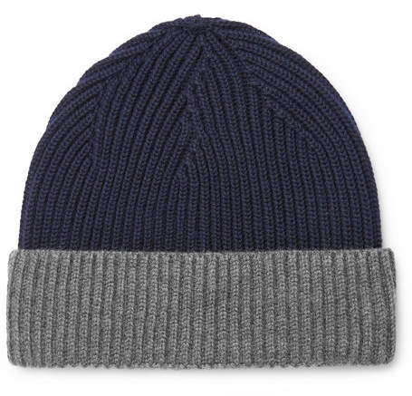 Altea Two-Tone Ribbed Virgin Wool Beanie
