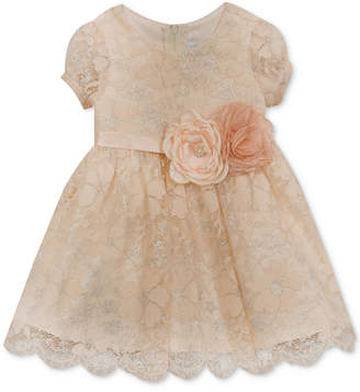 Rare Editions Metallic Lace Dress, Baby Girls