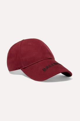 Balenciaga Embroidered Cotton-twill Baseball Cap - Burgundy