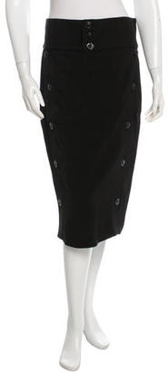 Jean Paul Gaultier Lace Up-Accented Pencil Skirt $70 thestylecure.com