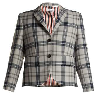 Thom Browne Tartan Wool Blend Blazer - Womens - Grey Multi