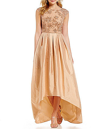 Adrianna Papell Adrianna Papell Cap-Sleeve Floral Beaded Gown