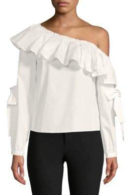 ENGLISH FACTORY Ruffle Asymmetrical Neck Cotton Top