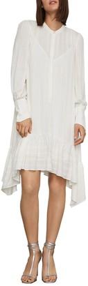 BCBGMAXAZRIA Asymmetrical Button-Up Midi Dress