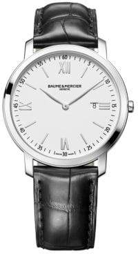 Baume & Mercier Classima 10097 Stainless Steel& Alligator Strap Watch