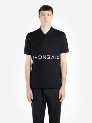 Givenchy MEN'S BLACK SLIM FIT POLO SHIRT WITH UPSIDE DOWN EMBROIDERED