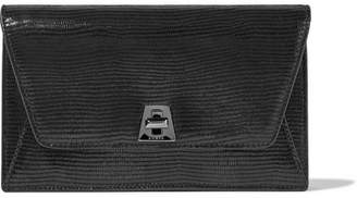Akris Anouk Envelope Lizard-effect Leather Clutch - Black