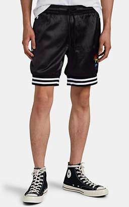 Barneys New York HOTEL 1171 x Men's Varsity Palms Embroidered Satin Shorts - Black