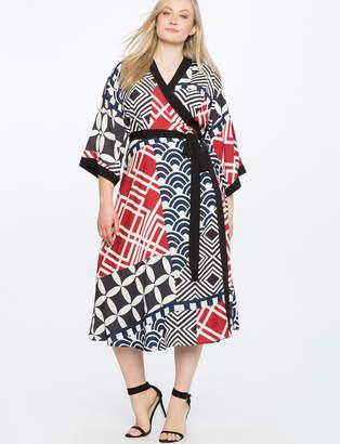 ELOQUII Dropped Shoulder Kimono Dress