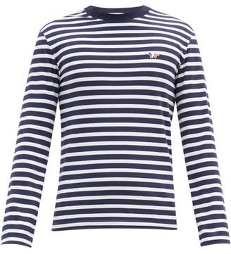 MAISON KITSUNÉ Fox Applique Striped Long Sleeved Cotton T Shirt - Mens - Navy White