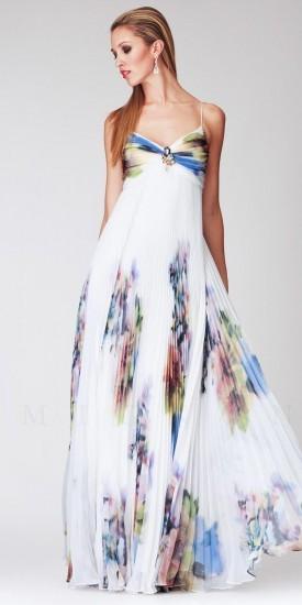 Mignon Pleated Floral Print Empire Waist Evening Dresses