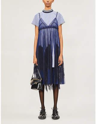 Sacai Mesh-overlay woven and lace dress
