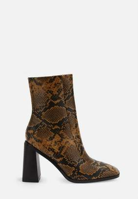 Missguided Tan Snake Print Square Toe Ankle Boots