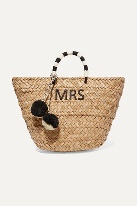 Kayu St Tropez Pompom Embellished Embroidered Woven Straw Tote Neutral