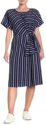 &.Layered Striped Faux Wrap Tie Dress