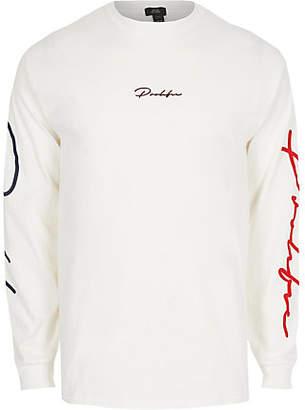 River Island Mens White 'Prolific' long sleeve print T-shirt