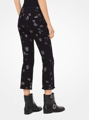 MICHAEL Michael Kors Metallic Rose Print Cropped Jeans