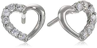 Girls' Sterling Silver Children's Cubic Zirconia Open Heart Earrings