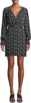 Tanya Taylor Kris Poppy-Print Silk Long-Sleeve Short Dress