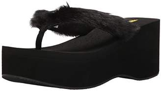 Volatile Women's Furball Wedge Sandal