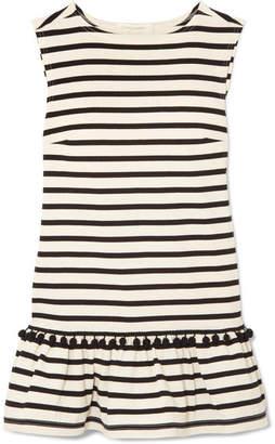 Marc Jacobs Pompom-embellished Striped Cotton-jersey Mini Dress - Ecru