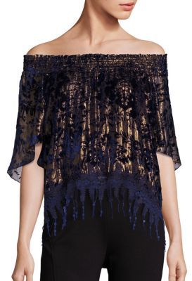 Elie Tahari Calliope Metallic Off-The-Shoulder Blouse $398 thestylecure.com